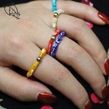 Momiji natural concha anéis para mulher com cordão de aço inoxidável corda elástica corrente artesanal moda jóias anel atacado