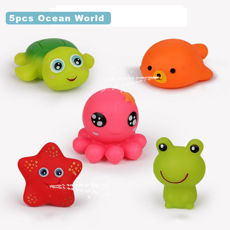 5pcs/set Soft Baby Bath Toys Cartoon Animal Pinch Called Toy Set Swim Duck Turtle Model Squeeze Sounding Daraying Toys For Kids