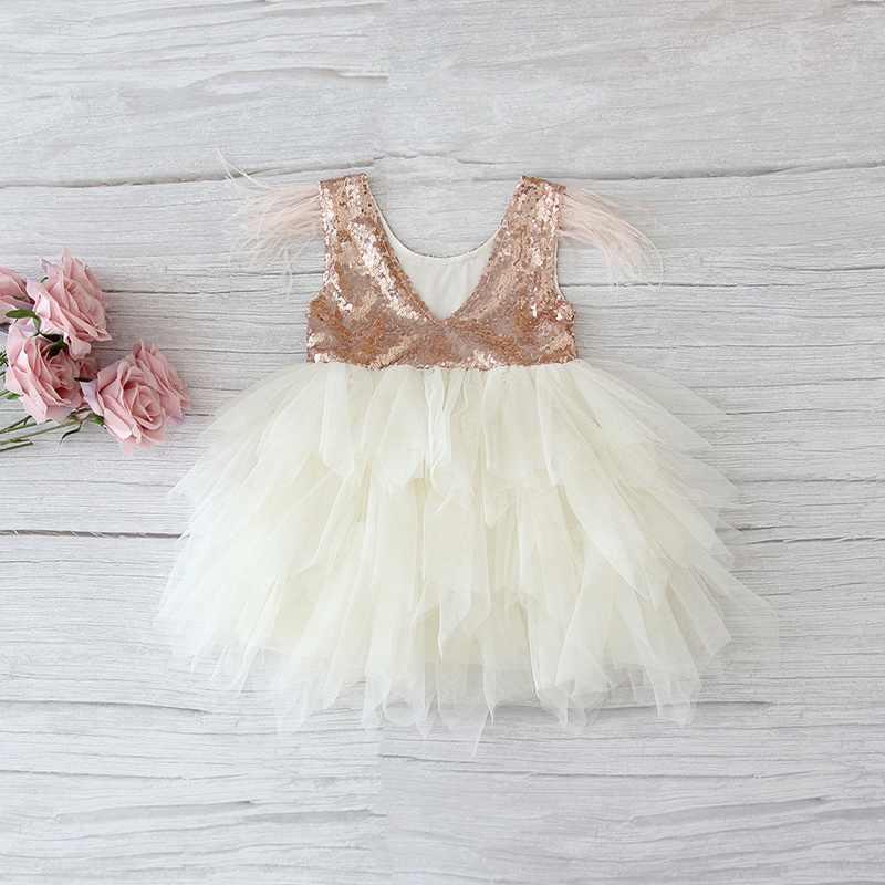Vestido de lentejuelas de plumas escalonado para niñas vestido de tul mullido para fiesta de princesas para niñas ropa de bebé 2-10Y E13846