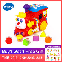 HOLA 556 Baby Toys IQ Train On Wheels Electric Toy with Light & Music Learning Educational Toys for Children Boy Xmas Gift(China)