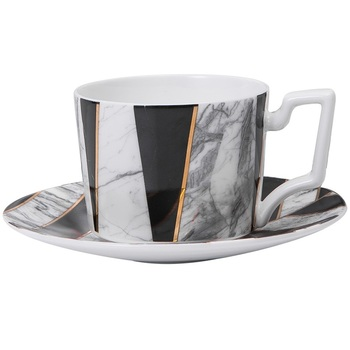 Marble Unique Tea Cup White Porcelain Large Pottery Bone China Tea Cups and Saucers Tazas High Quality Teacup and Saucer II50BYD
