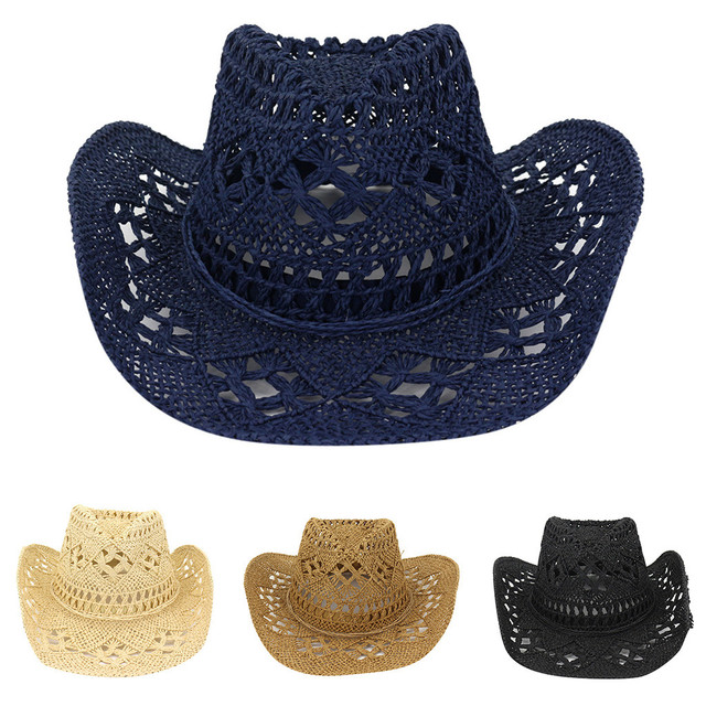 Straw Western Cowboy Hat Hand Made Beach Sunhats Party Sun For Man Woman Curling Brim Cap Sun Protection Unisex Hats