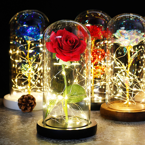 Image 5 - 2019 Beauty and the Beast Red Rose in a Glass Dome on a Wooden Base for Valentines Gifts