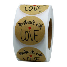 1Inch 500pcs handmade with love  Round Kraft paper Seal sticker For handmade products baking products sealing sticker Label 120 pcs lot cute long hand made with love kraft paper seal sticker for handmade products baking products sealing sticker label