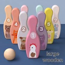 Красочные деревянные шарики для боулинга, набор для детской игрушки, 9 шариков для боулинга, 1 набор шариков, веселая домашняя Семейная Игра, ...