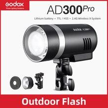 متوفر في المخزون Godox AD300Pro في الهواء الطلق ضوء فلاش 300Ws TTL 2.4G 1/8000 HSS مع بطارية لكانون نيكون سوني فوجي أوليمبوس بنتاكس