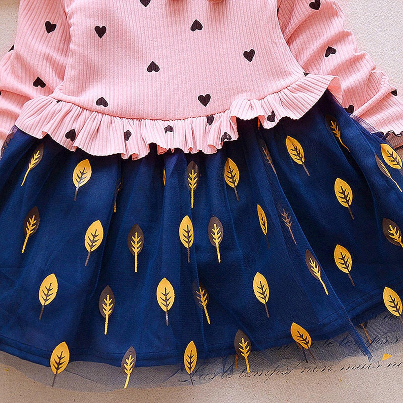 40# Toddler Kids Dresses Baby Girls' Long-sleeved Leaf Net Yarn Stitching Dress Love Dress Kids Clothes Girls תחפושות לתינוקות 4