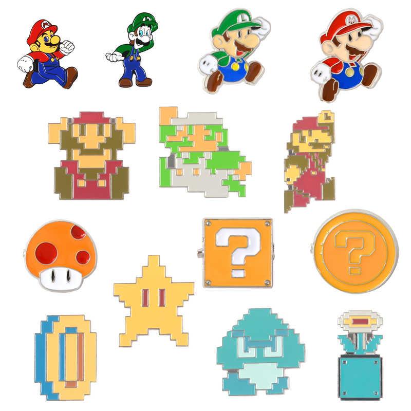 クラシックゲームラペル金属ピンスーパーマリオ Bros. ピクセル漫画ブローチバッジバックパックピンためゲームファンの友人