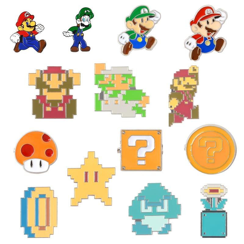 Classic Game Lapel Metal Pins Super Mario Bros Pixel Cartoon