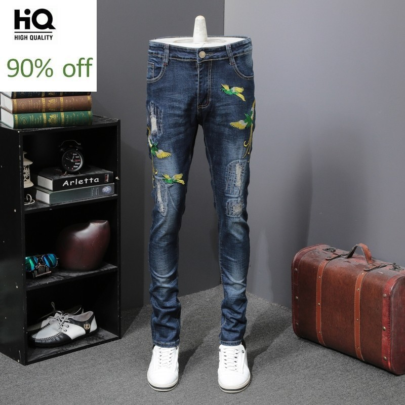 2020 Lightweight Embroidery Jeans For Men Fashion Brand Personalized Flower Trousers Spring Summer Hole Ripped Denim Pants Men