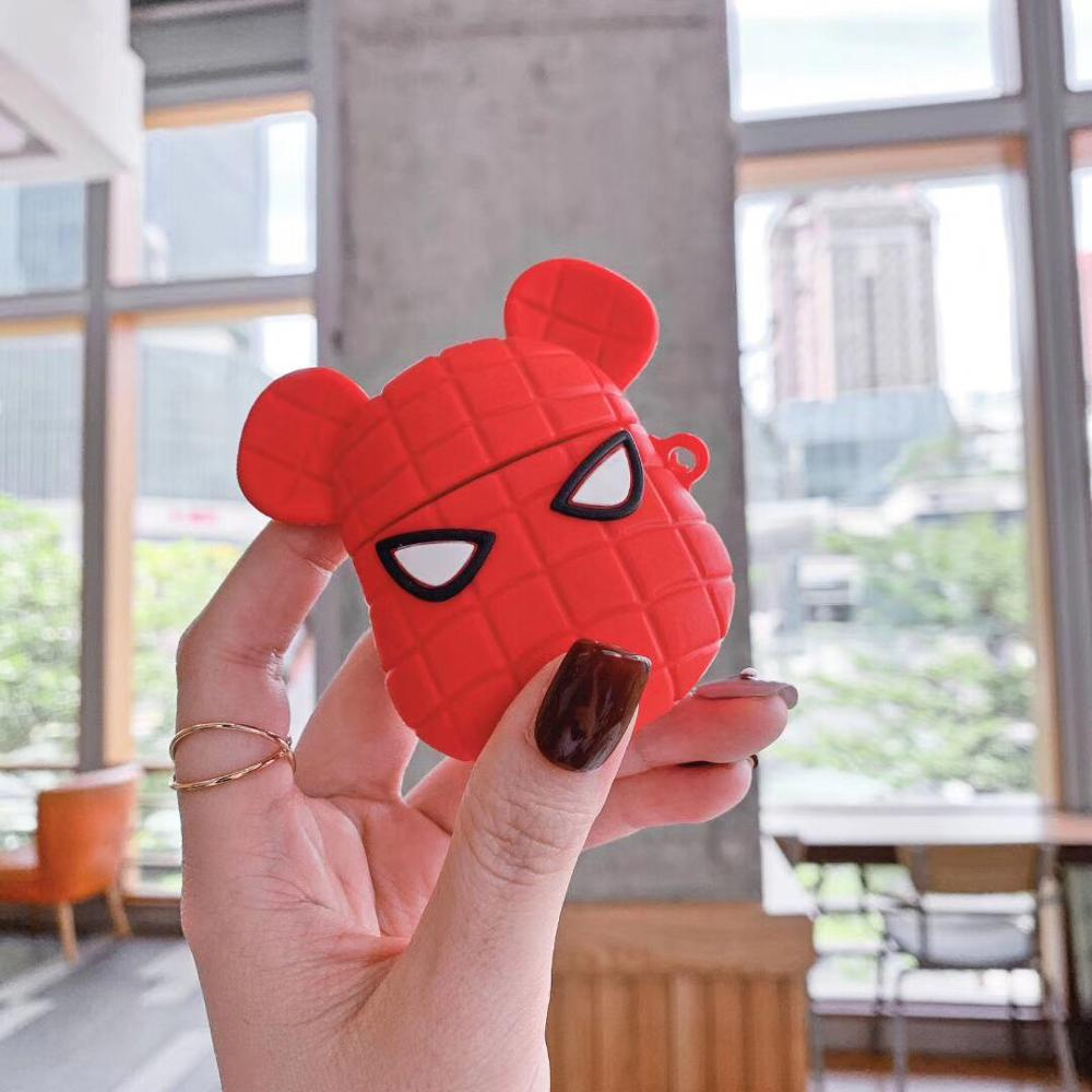 3D cartoon brick bear Spiderman Silicone soft case For Apple new Airpods 1/2 Cover Wireless Bluetooth Earphone Protective case