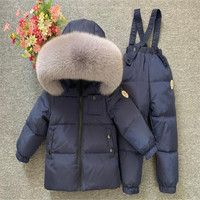 Children Winter Ski Suit Real Fur Kids Thicken Warm Down Coat Jacket And Pants Overalls Clothes Set For Boys Girls Snowsuit