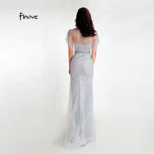 Image 5 - Finove 新マーメイドイブニングドレス 2020 セクシーな V ネック完全ビーズイリュージョン床の長さパーティードレスフォーマルロングドレス