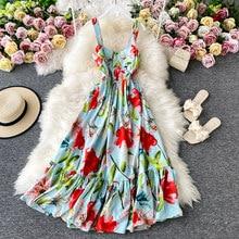 Menahem 2021 verão moda pista floral vestido de férias das mulheres sem mangas tanque boho praia elegante festa plissado longo