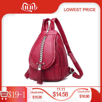 Female Backpack Designer High Quality Leather Women Bag Fashion School Bags Girl Red Bagpack Tassel Multifunction Bag Waterproof - DISCOUNT ITEM  31 OFF Luggage & Bags