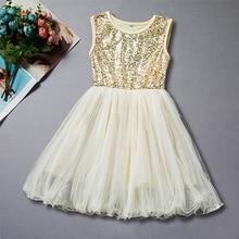 купить New Arrival Summer Fashion Kids Dresses for Girls Princess Dress Sleeveless O-neck Cute Sequin Mesh Girls Dress Birthday Gift дешево