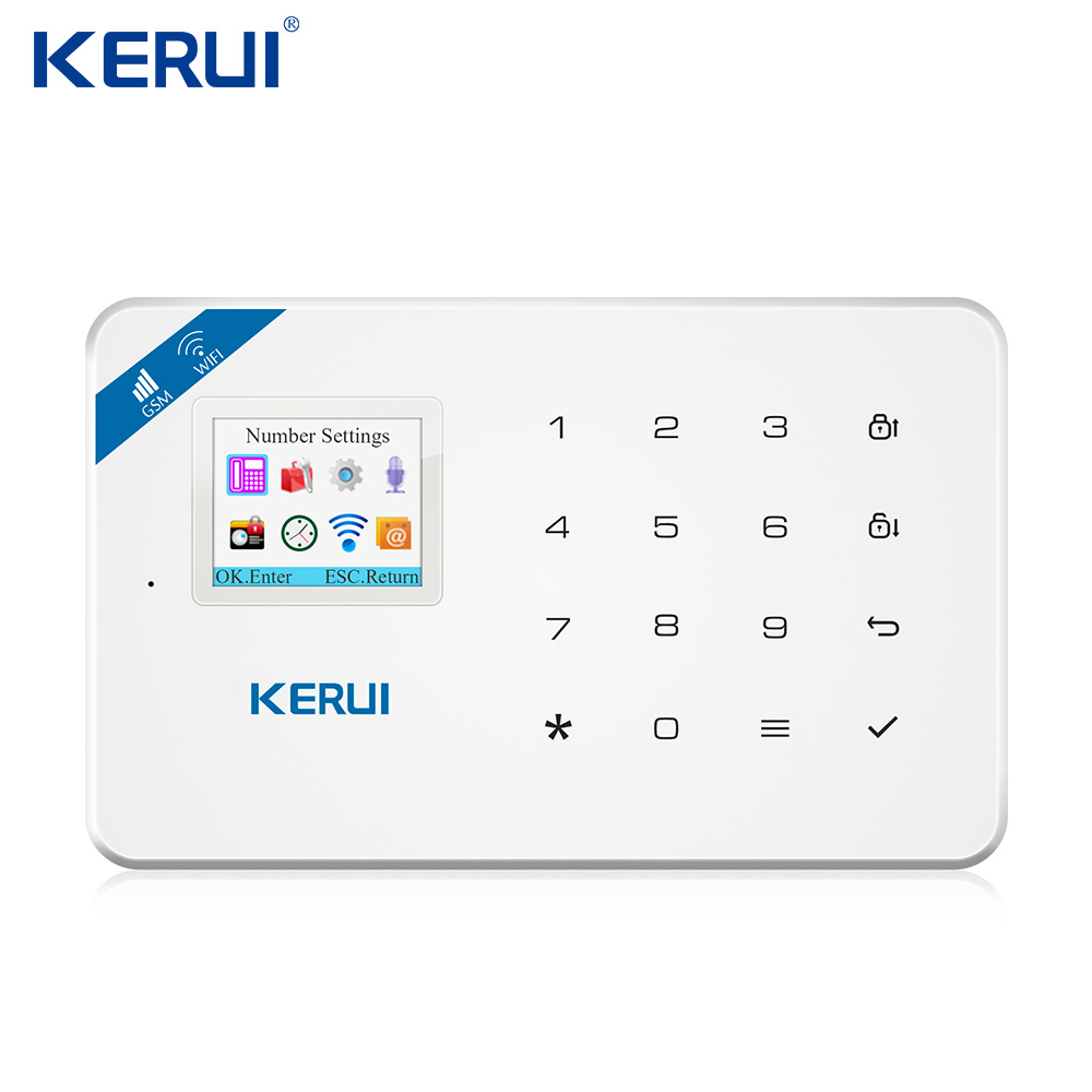 KERUI W18 WIFI GSM SMS Home Burglar Security Alarm System Curtain Motion Sensor Wireless Solar Siren IP Camera GSM Alarm System 1