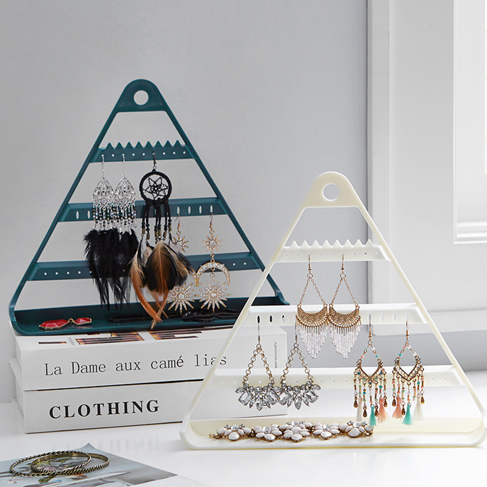 New Earrings Ear Studs Necklace Display Storage Rack Jewelry Box Triangle Hanging Stand Organizer Hold Organizers Jewelry Shelf