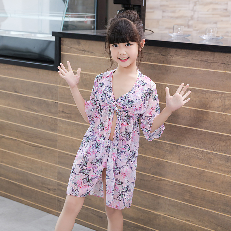 2019 New Style Hot Sales CHILDREN'S Swimwear Split Bikini Three-piece Set Sun-resistant Blouse Floral Children GIRL'S Swimsuit