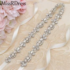 Image 3 - MissRDress Opalas de Cristal Cinto De Noiva Prata Faixa De Casamento Para As Mulheres Strass Cinto Fino Vestido de Noiva vestido de Baile JK977