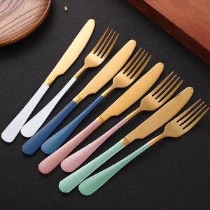 Image 2 - Ensemble de coutellerie 24 pièces, couteaux, fourchettes, cuillères, or rose, service de table de mariage, couverts en acier inoxydable