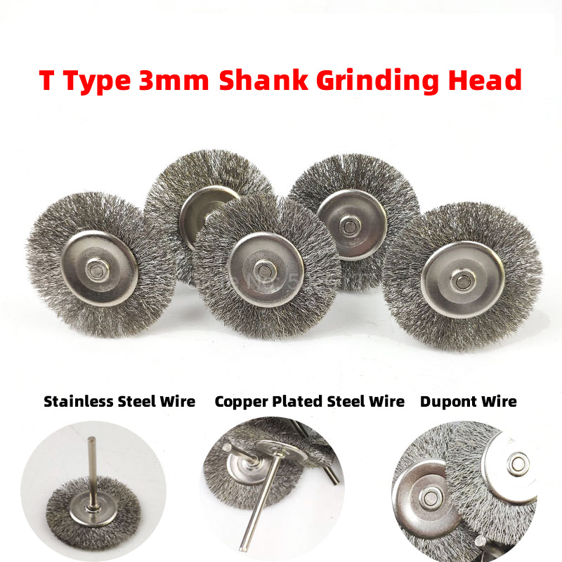 1Pcs 3.0mm Shank Stainless Steel Wire Brush Grinding Round Polished Polishing Wheel Grinder Power Brushes Head Rust Removal Tool