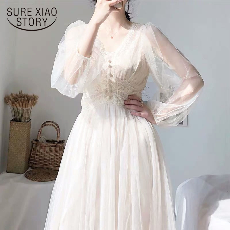 Dress Women 2020 Spring Plus Size Dress Elegant Button A-Line Vestidos Solid Puff Sleeve Empire V-Neck Lace Voile Mesh 8126 50