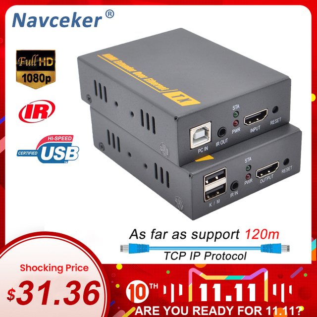 2020 Navceker HDMI KVM Extender מעל IP תמיכת IR רשת KVM Extender USB HDMI 150M מעל UTP/STP RJ45 KVM Extender CAT5 CAT6