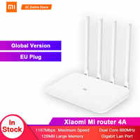 Versão global xiaomi mi 4a roteador gigabit edição 2.4 ghz + 5 ghz wifi 16 mb rom + 128 mb ddr3 alto ganho 4 antena app controle ipv6
