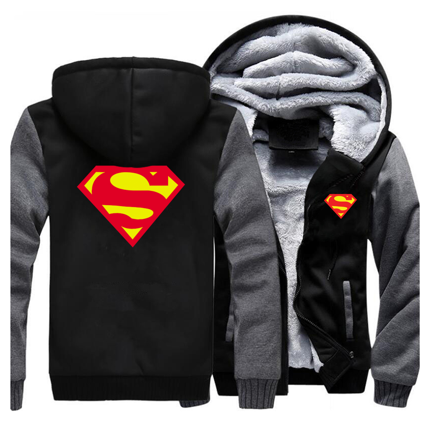 Superman Clark Kent Jacket Sweatshirt Men Super Man Hoodies Zipper Winter Thick Fleece Coat Jackets Sportswear Black Streetwear