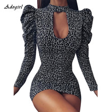 Adogirl Vintage Puff Sleeve Leopard Gaun Wanita Seksi Hollow Out Turtleneck Bodycon Sexy Clubwear Mini Wanita Gaun Vestido(China)