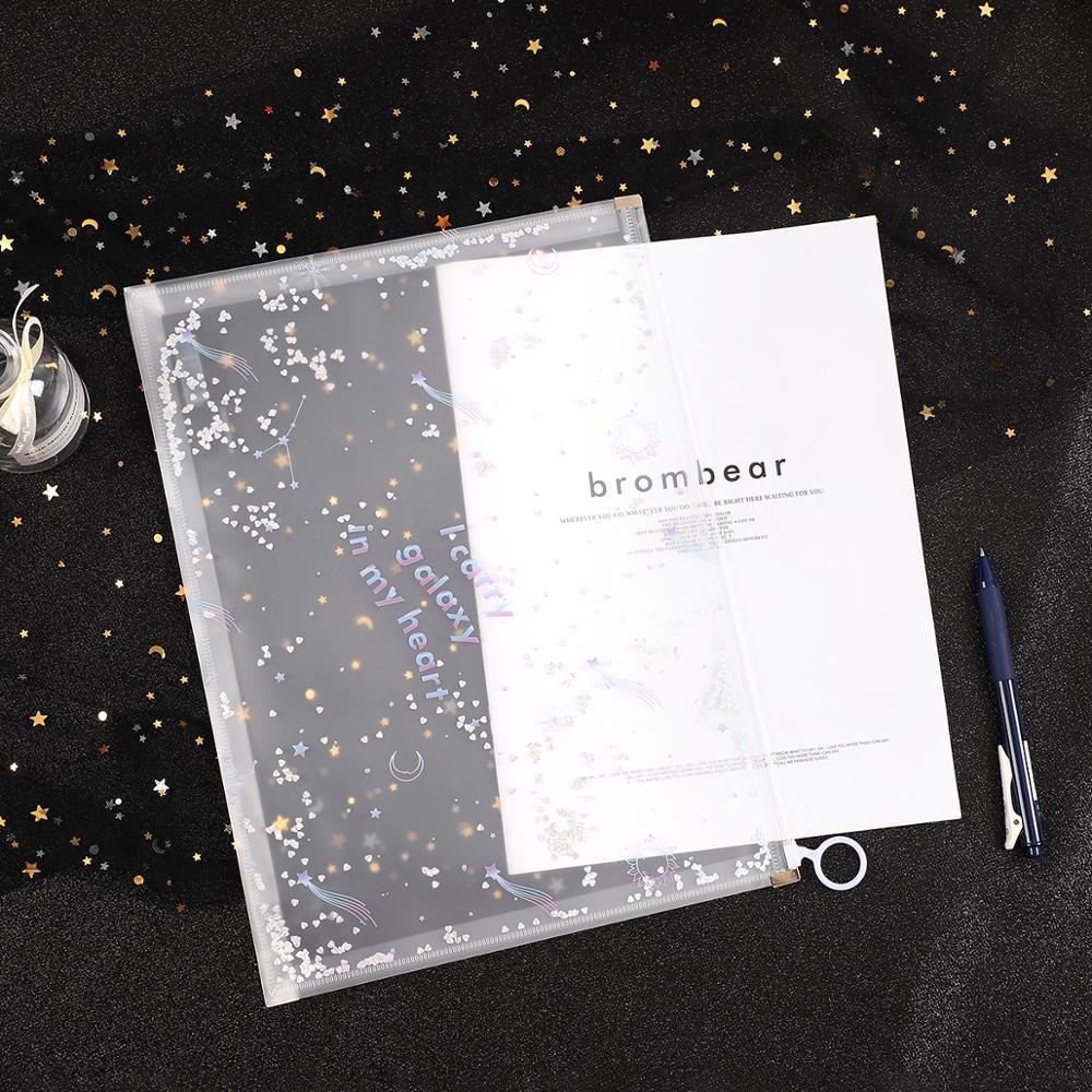 JIANWU 2pcs/set Creative Simplicity Side-pulling Bag Gilding Zipper Bag  File Folder A4 Paper Kawaii School Supplies