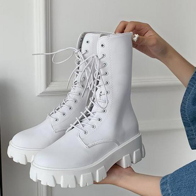 2020 New Mid Calf Boots Women Autumn Winter Fashion Lace up Zipper Botas Mujer Boots Sports Platform Heel Ladies Shoes