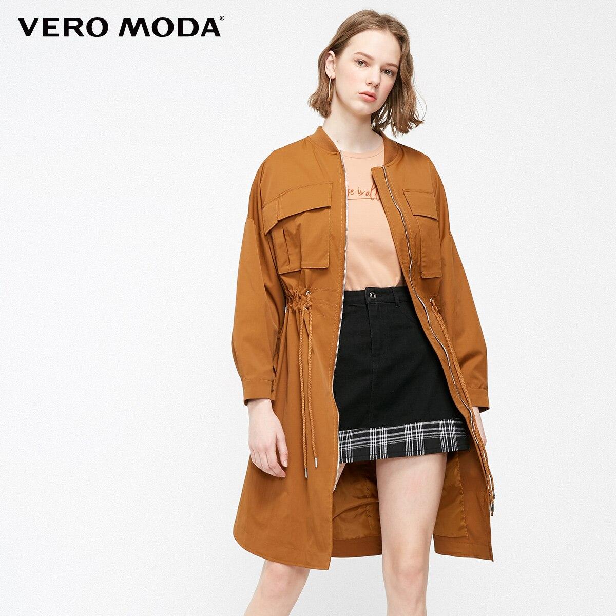 Vero Moda Women's Streetwear Waist Drawstring Casual Long Trench Coat   319121542