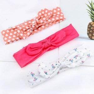 Frauen Polka Dot Gestreiften Gedruckt Bogen Haarband Verknotet Kaninchen Ohr Stirnband Turban Infant Haar Zubehör Baby Elastische Haarband