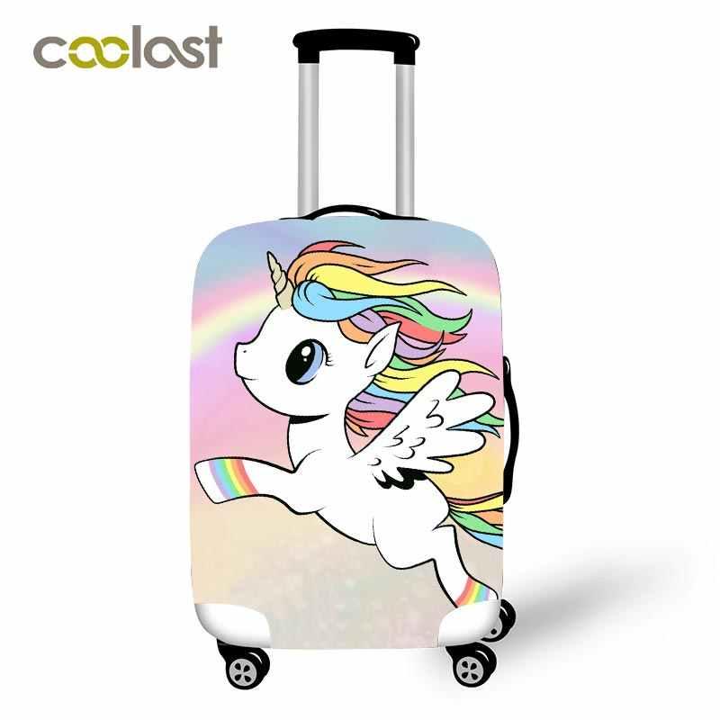 Cartoon Eenhoorn Reisbagage Beschermende Covers Vrouwen Leuke Bagages Roulettes Meisjes Regenboog Wolken Koffer Reizen Accessoires