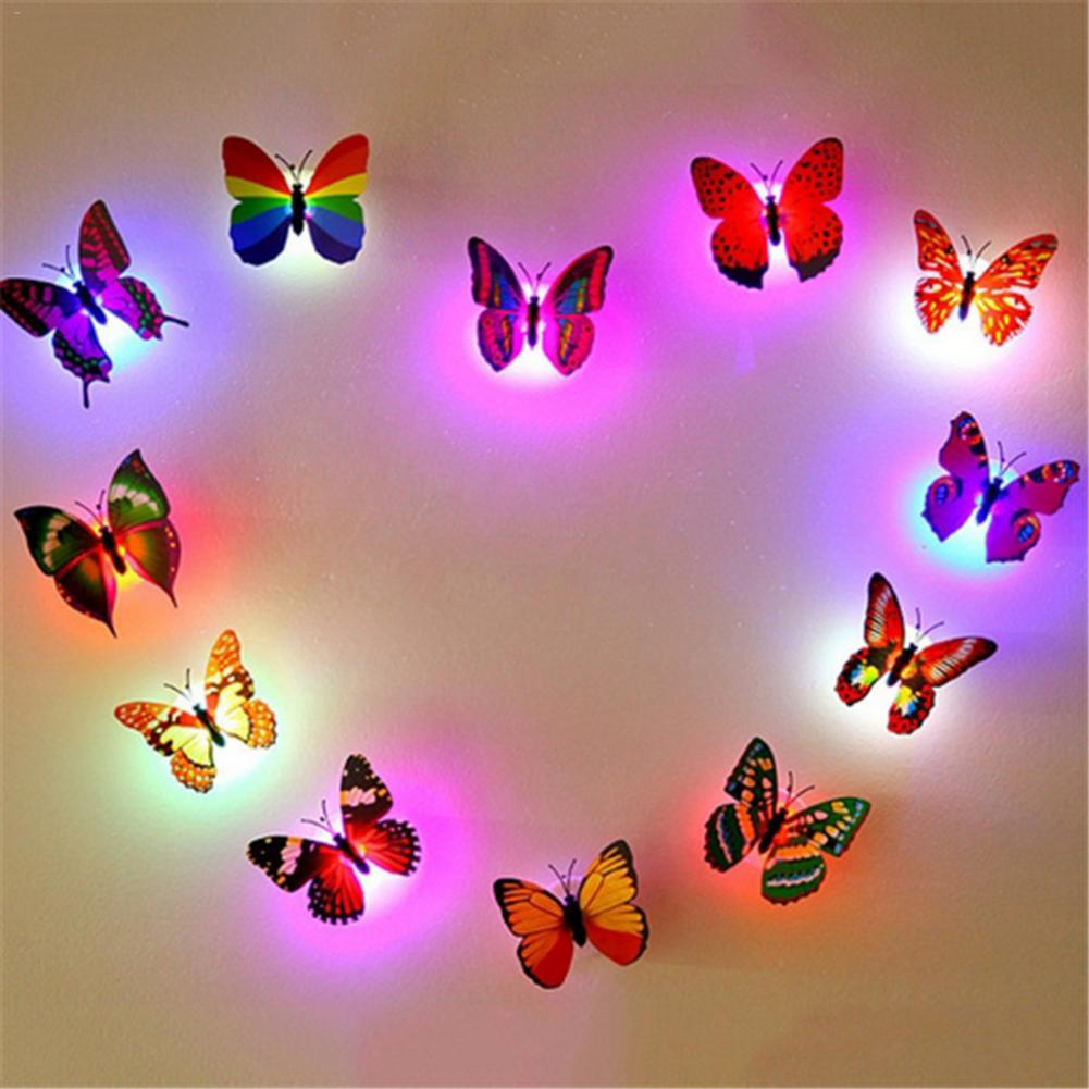 1pcs LED Wall Stickers Colorful Changing Butterfly Glowing Wall Decals Night Light Lamp Home Decor DIY Living Room Wall Sticker