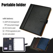 С папкой для ноутбука, органайзер для канцелярских товаров, модная папка для совещаний, Вместительная деловая сумка для хранения формата А4