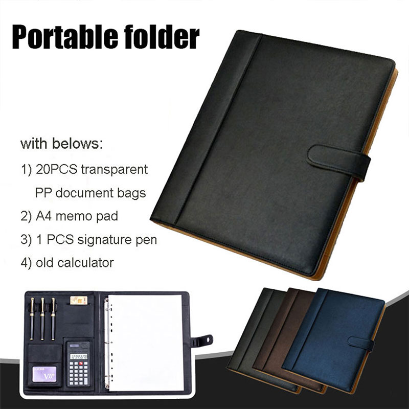 With Computer Portfolio Folder Organizer Stationery Fashion Conference Folder Large Capacity A4 Business Storage Bag