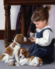 Girl and dog cute ch...