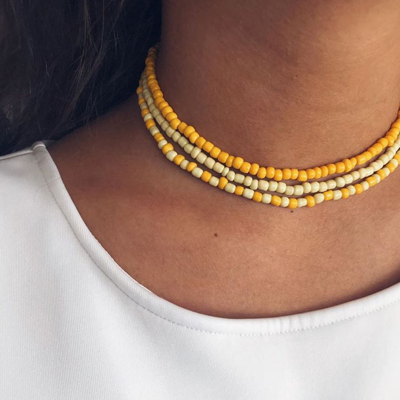 Tocona Bohemian Colorful Bead Choker Necklace for Women 2020 Trendy Handmade Adjustable Jewelry Collar Wholesale 15209