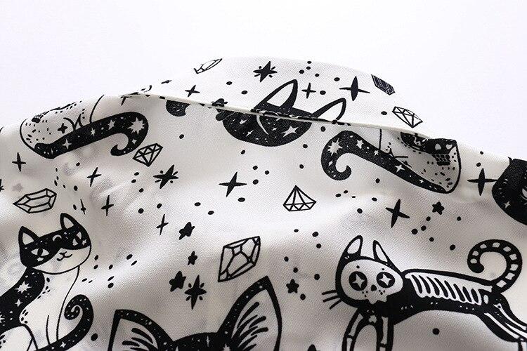 Cute Black Cat Long Sleeve Blouse