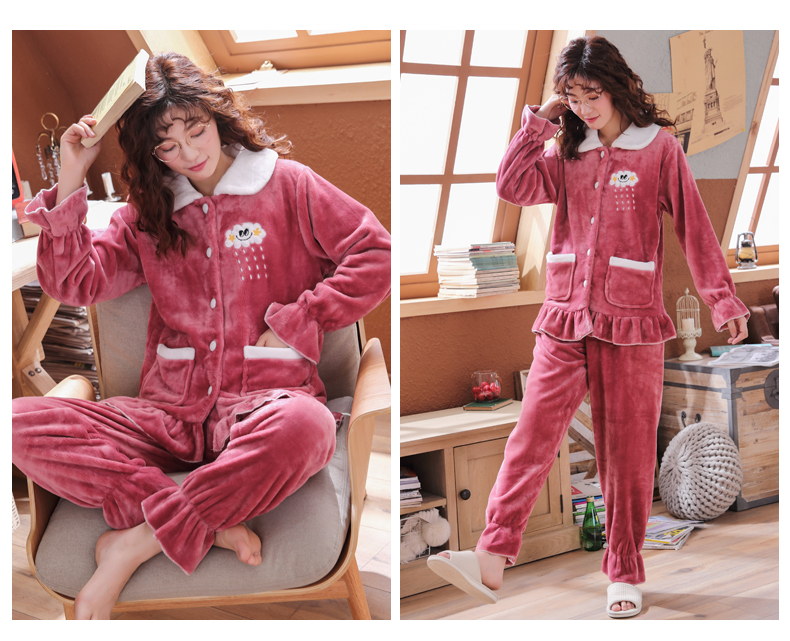 Plus Size 3XL 4XL 5XL Pyjamas women winter new Korean kawaii pink coral fleece warm pajama set thick flannel pijama home service 136