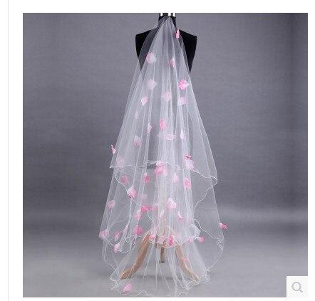 Bridal Veil Lace Bride White Long Wedding Veil Mantilla Wedding Accessories Veu De Noiva With Pink Lace Flowers Veils