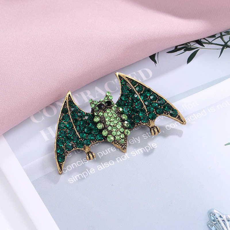 Baiduqiandu Marca Antico GoldColor Metallo Placcato Verde Strass 2019 Viperous Bat Spilla Spilli Gioelleria Raffinata E Alla Moda Accessori
