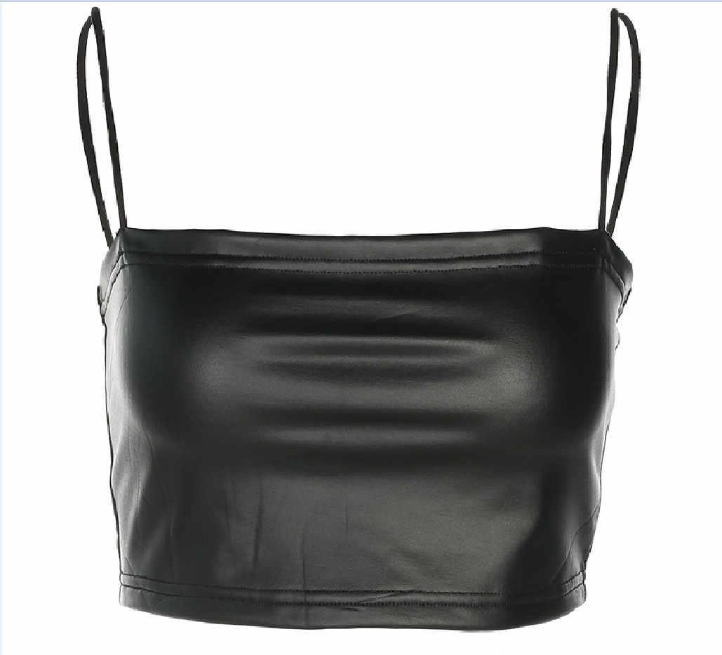 Moda Kadın Deri Kolsuz Tüp Üst Sutyen Bluz Kayış Düz Siyah Kırpma Üst deri kaşkorse Kare Yüksek Sokak Clubwear