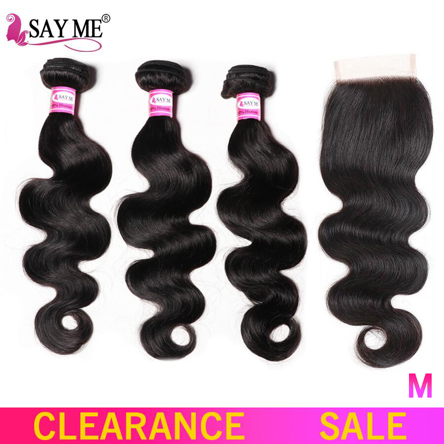 Body Wave Human Hair Bundles With Closure 4x4 Free Part Non-Remy Brazilian Hair Weave 3 Bundles With Closure Medium Ratio