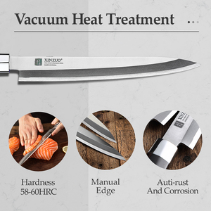 Image 4 - XINZUO 240/270/300 مللي متر السوشي سكين مع غطاء Scabbard X9Cr18MoV الصلب المطبخ السكاكين الساطور الساشيمي سكين خشب الأبنوس مقبض