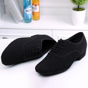 Image 3 - Zapatos de baile latino para hombre, calzado profesional de lona negra para Salsa latina, zapatos de talla grande de tacón bajo para Tango, zapatos de baile de salón