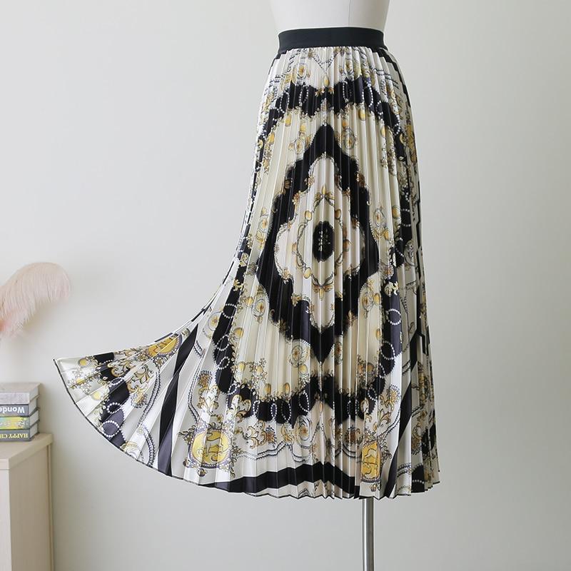 2019 Autumn European Printing Geometric Diamond Pattern High Elasticity Pleated High Street A-line Women Long Skirts